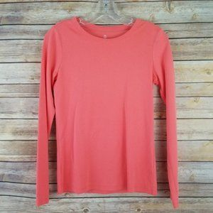 Lands End Long Sleeve Pullover Coral Top